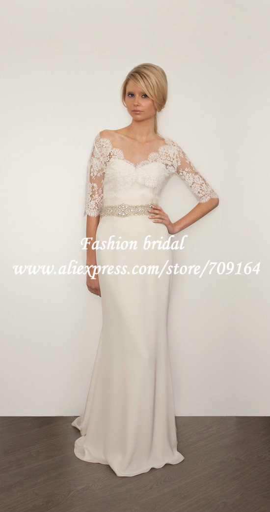 2013 new fashion chiffon grecian wedding dress with sleeve