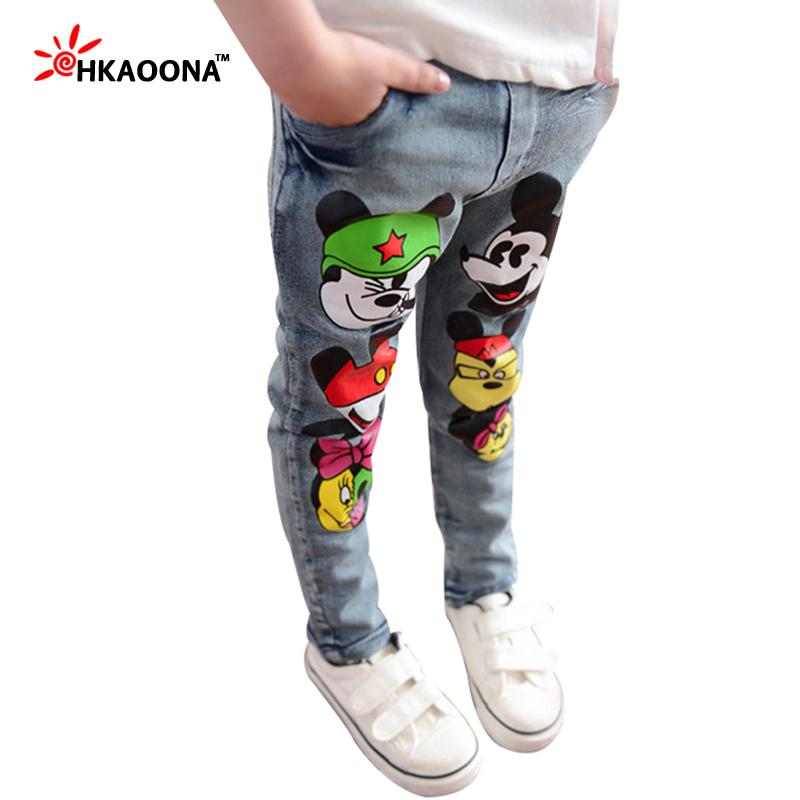 Autumn Kids Jeans Cartoon Lovely Mouse Denim Pants For Baby Boys Girls Kids Trousers Elastic Waist Pants Children's Clothes