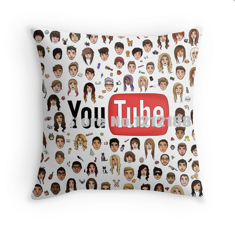 Free shipping YouTubers Decorative Pillowcase 16 18 20 24 Inch pillow case Polyester and Cotton pillow cover(China (Mainland))