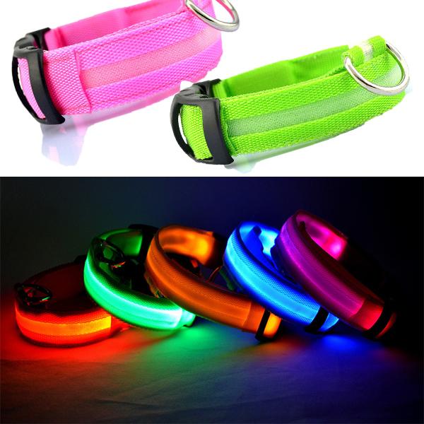 LED Nylon Pet Dog Cat Collar Night Safety LED Light-up Flashing Glow in the Dark Lighted Dog Collars(China (Mainland))
