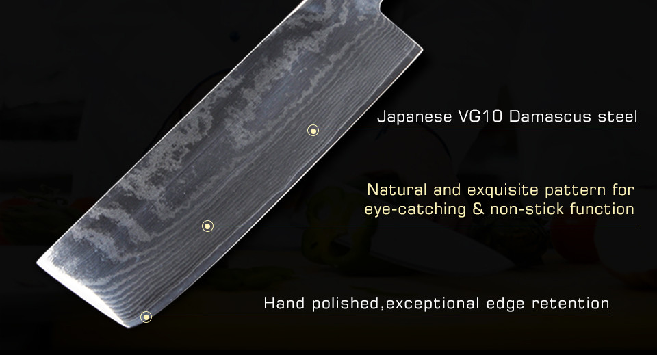 Buy Japanese style cleaver nakiri damascus kitchen knives 7 inch chopper 63 layers kitchen knife sharp damascus steel knives cheap