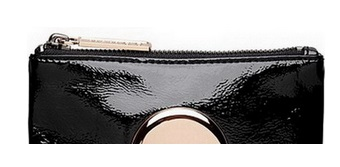 LEATHER WITH ROUND LOGO ZIP POUCH WALLET CLUTCH BAG WITH METAL PULLER SMALL SIZE 15 X 10 CM PART 1(China (Mainland))