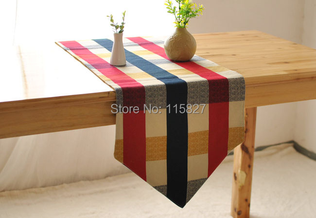 Free Shipping!England StyleTtable flag Cotton Check Pattern Table Runner Europ Style Dinning Table Runner House decoration(China (Mainland))
