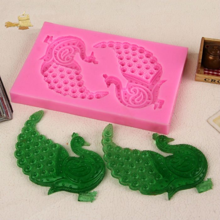 13.5*9*1.4cm peacock 3d silicone candy mold sugar fondant cake decorating tools kitchen cake designe accessories mould(China (Mainland))