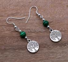 Vintage Earrings Women Jewelry 50 Pair Ancient Silver Tree Dangle Earrings Pendants Jewelry E7286(China (Mainland))