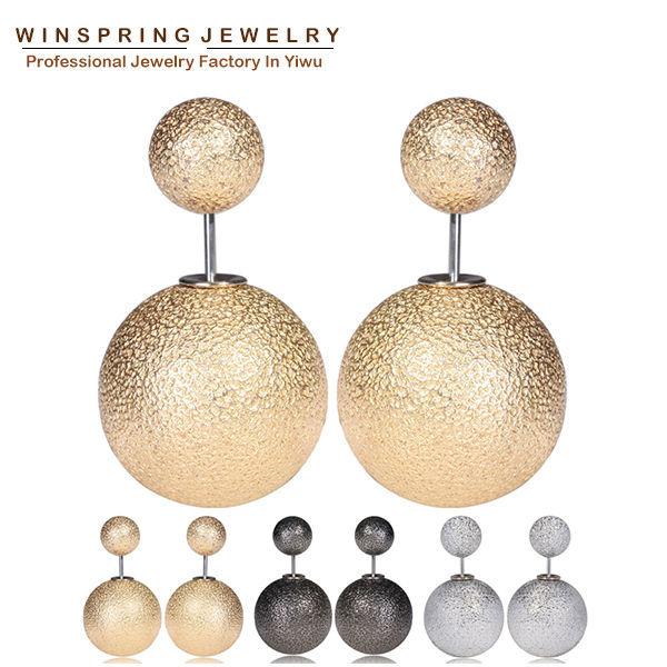 2015 New Design Wrinkle Korea Earrings Women Pearl Wrinkle Korean Earrings For Women Free Shipping(China (Mainland))