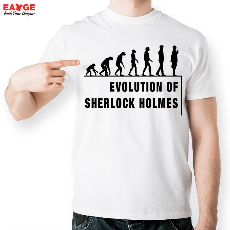 [MASCUBE] Men Short Sleeve Tshirt Sherlock Holmes Evolution Pattern T Shirt Brand White Printed T-shirt Fashion Summer Style(China (Mainland))