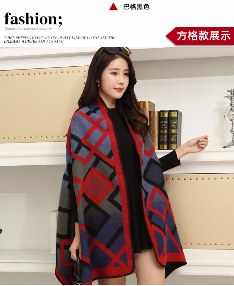 SH013 New Women Shawls for Autumn Winter Cashmere Imitation Wool Scarf High Quality Plaid Cape Vintage Checked Blanket Scarves