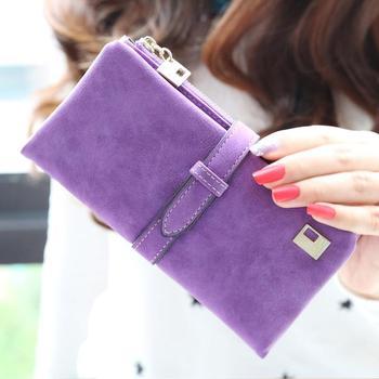 Женщины кошельки кулиска нубука кожа молния бумажник женщины в длинная дизайн портмоне ...