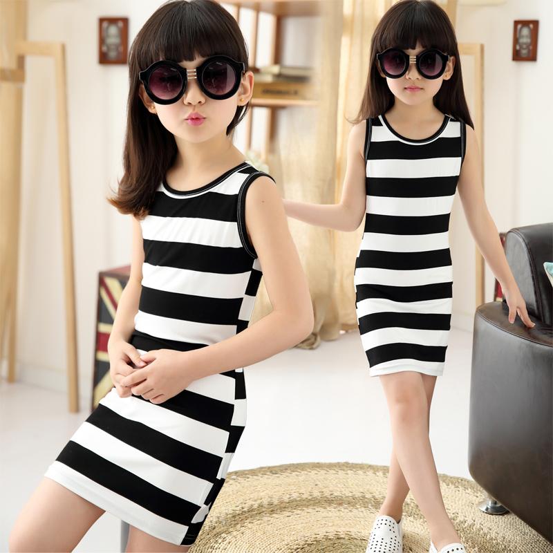 2016 children girls summer dress black amp white stripes