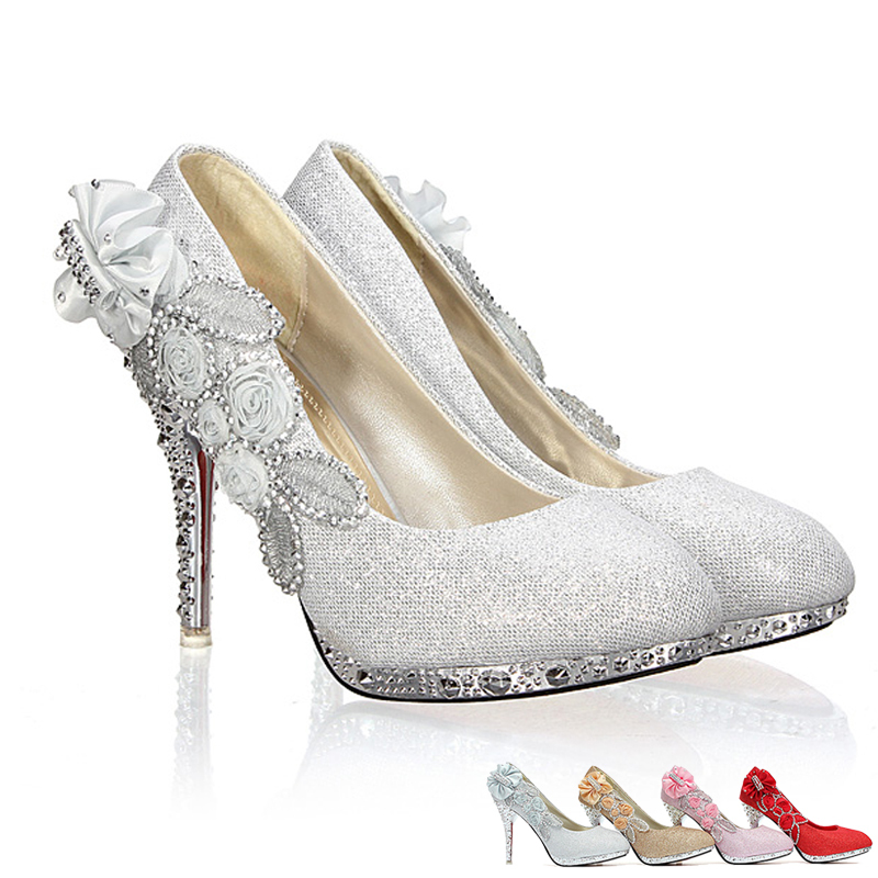 High Heels 10CM Wedding Bridal Evening Party Cinderella Shoes Women'S Pumps Fake Crystal Rose Butterfly 2015 New Fashion Shoes(China (Mainland))