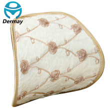 Personality Winter Warm Plush LUMBAR CUSHION FOR CAR OFFICE Pattern of Roses Lace For Girls Women Size 37X38CM(China (Mainland))