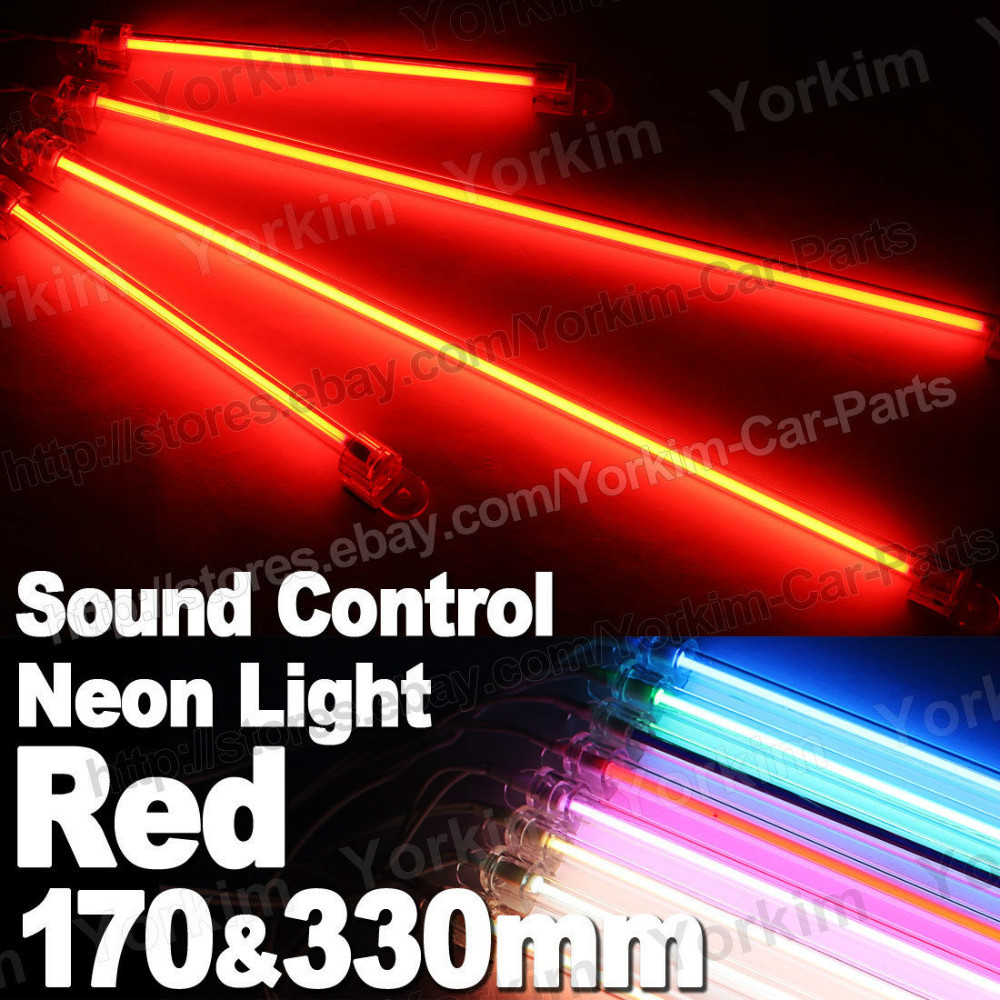 Free Shipping 4pcs Red Car Sound Control Ccfl Neon Tube Interior Undercar Underbody Light Door