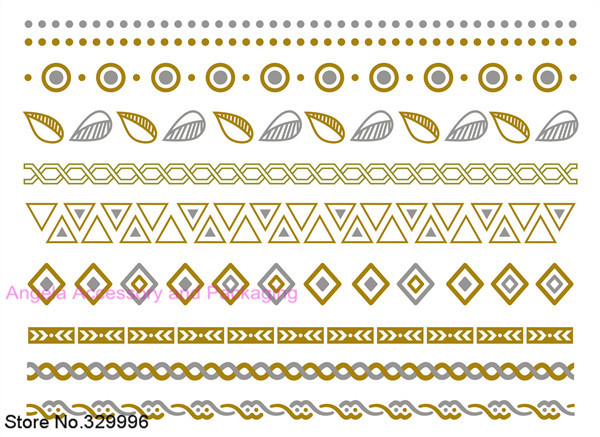 2014 New Metallic Flash Tattoos Temporary Gold/Silver Body Jewelry Sticker Deco Non-toxic Waterproof Unpacked C-1 - Angela Accessory and Packaging store