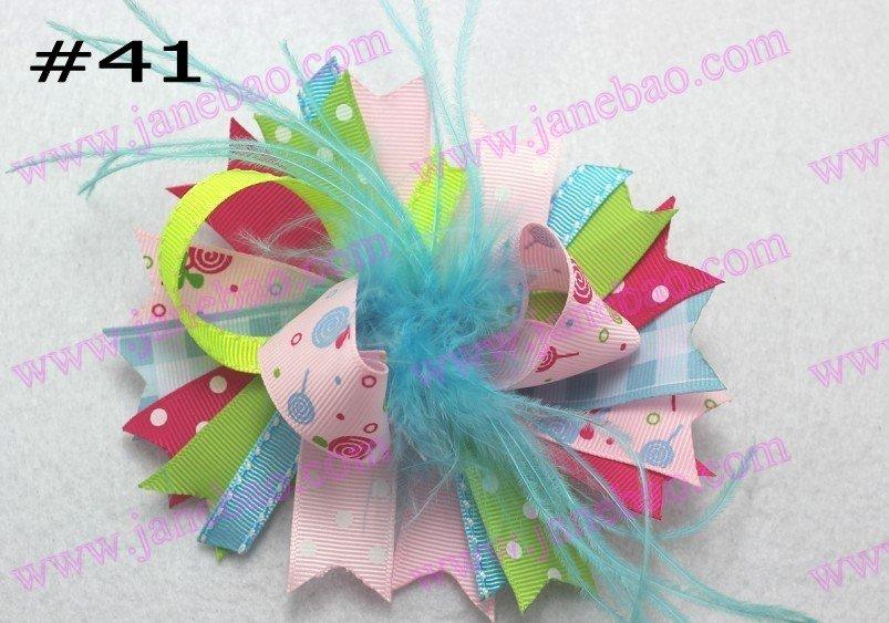 free shipping 65pcs NEWEST 4.5'' feather hair bows fashion boutique girl boutique hair bows Animal print ribbon bows(China (Mainland))