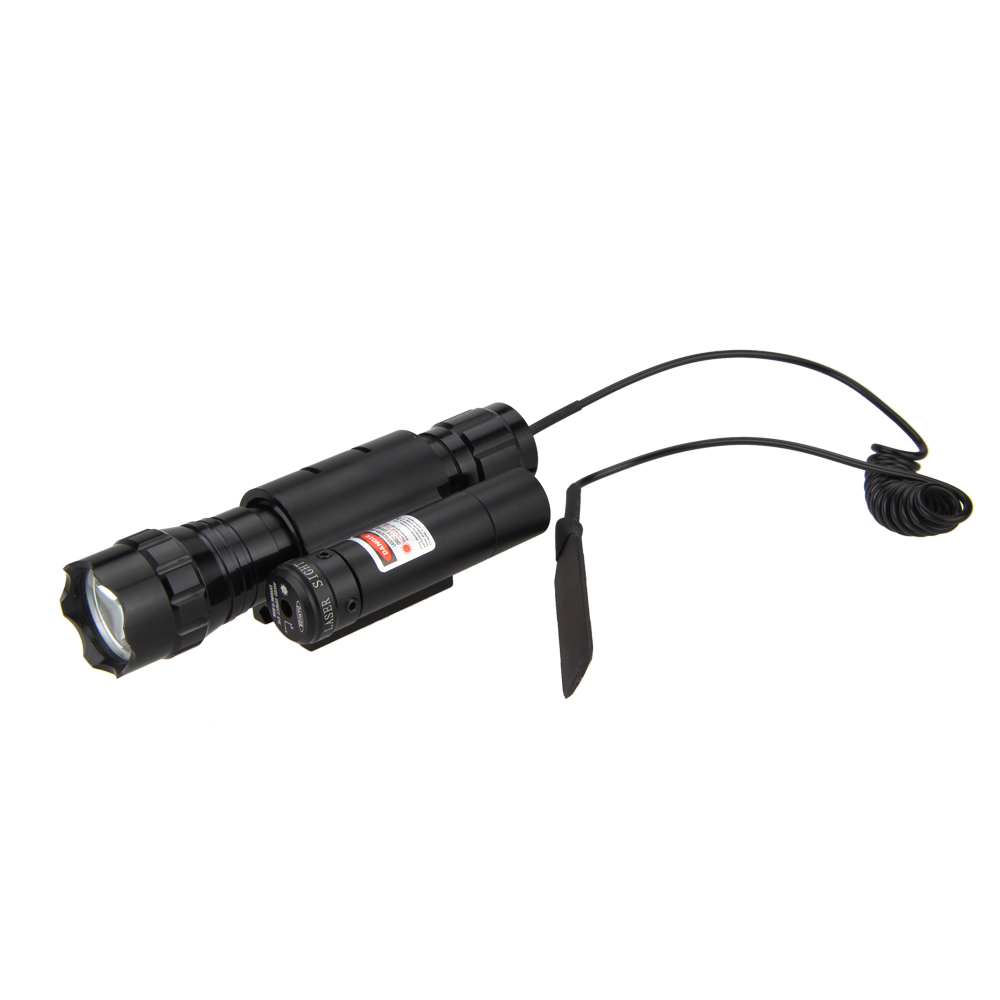 2000 LM CREE XM-L T6 LED Flashlight Torch Light Red Laser Dot Sight Hunting+Pressure Switch+Red Dot Laser with Mount(China (Mainland))