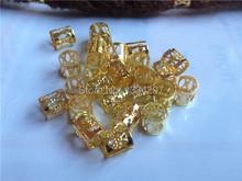 100Pcs/Lot Golden  Plated hair dread Dreadlock Bead adjustable cuff clip 8mm hole clip(China (Mainland))