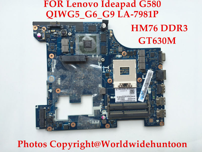 Original Laptop motherboard for Lenovo Ideapad G580 QIWG5_G6_G9 LA-7981P PGA989 DDR3 GT630 2GB Fully tested Working perfect