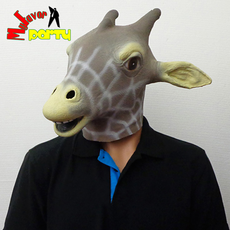 CE&RoHS Approved Novelty Halloween / Christmas Costume Theater Prop Masquerade Fancy Dress Up Carnival Latex Giraffe Mask(China (Mainland))
