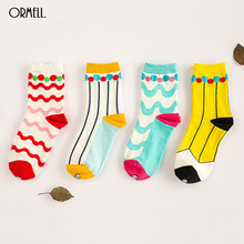 ORMELL Socks Women New Cute Ball Wave Lovely Candy Color Cotton Women's Socks Girls Sock Slippers(China (Mainland))