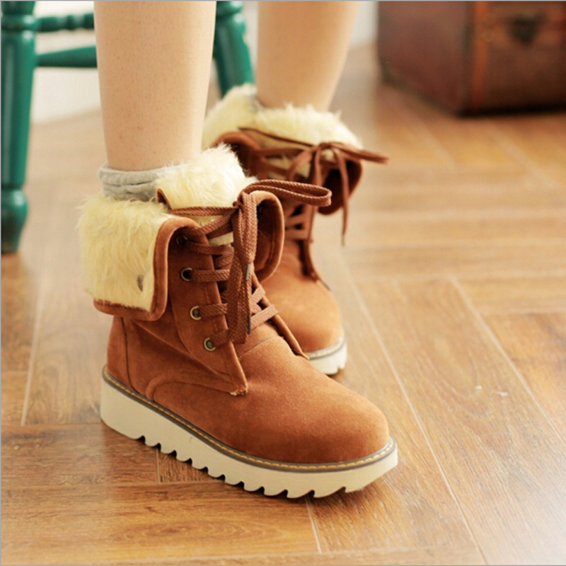 2016 New Arrival Womens Fashion Winter Lace-up Ankle Boots Women Warm Plush Snow Boots QD0014<br><br>Aliexpress