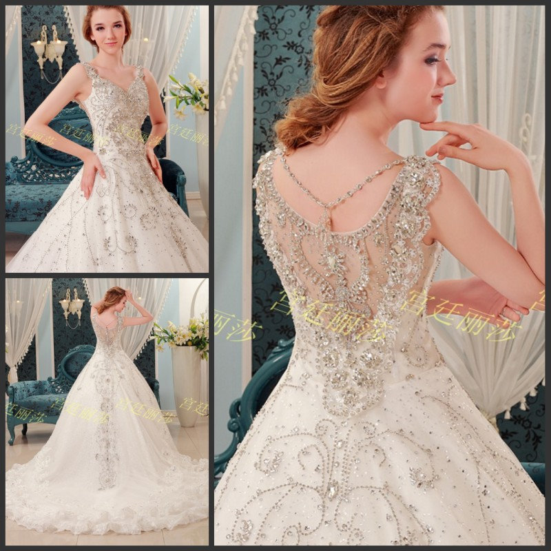 Hard Work Top Quality Real Sample Same as picture 2016 Ball Bridal Gowns Tank Crystal Beaded White Wedding dress for women(China (Mainland))