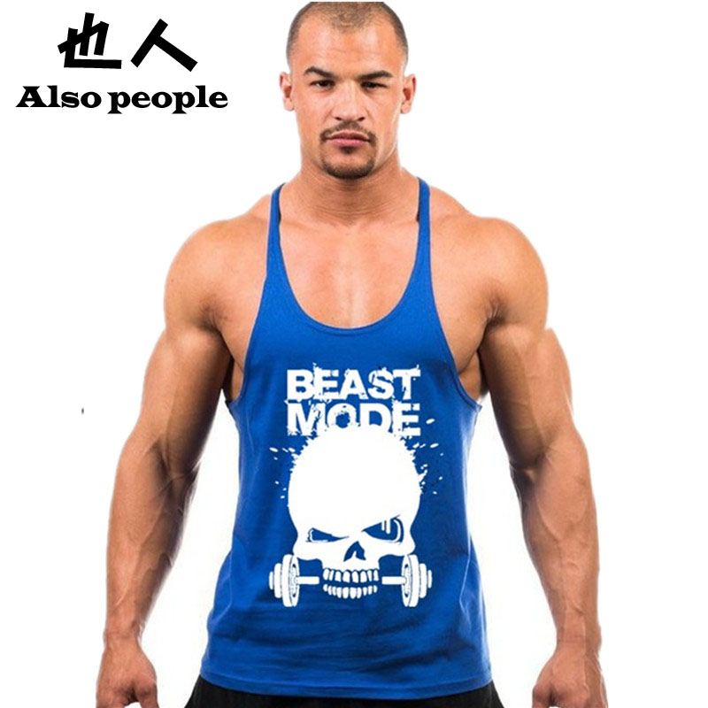 Men Casual Stringer Tank Top Mens Gymshark Bodybuilding Fitness Singlets Cotton Shirts Clothes Muscle Vest Sleeveless  -  Gash Hao Store store