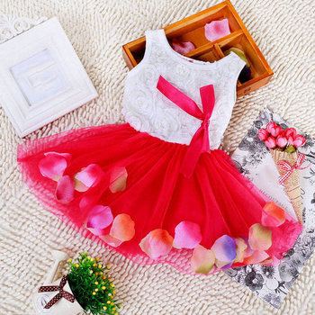 Toddler Baby Kid Girls Princess Party Tutu Lace Bow Flower Dresses Clothes Wholesale Free Shipping
