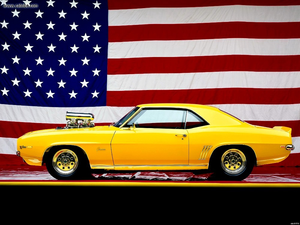 "Chevrolet Camaro 1969 Muscle Car American Flag Printing wall poster 24""x32""wbp04956(China (Mainland))"