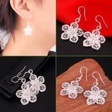 Women Silver-Plated Vintage Flower Dangle Drop Hook Earrings Jewelry~~(China (Mainland))