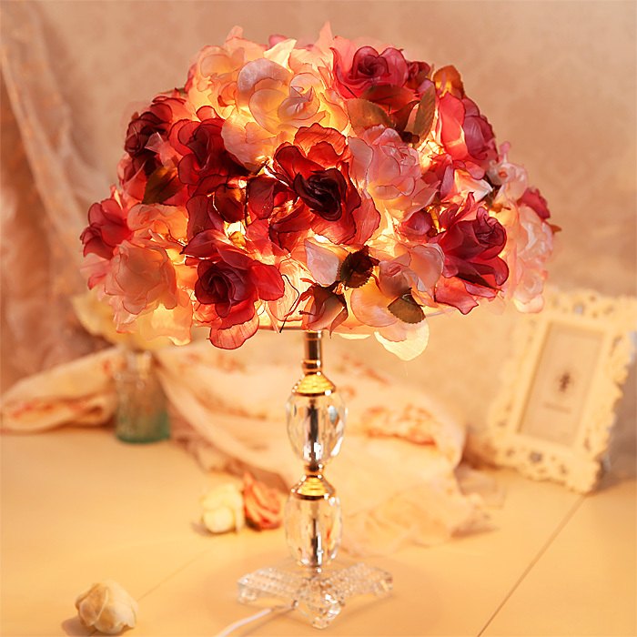 Bedside lamp bedroom lamp creative fashion house wedding gift of roses new long light romantic red cloth(China (Mainland))