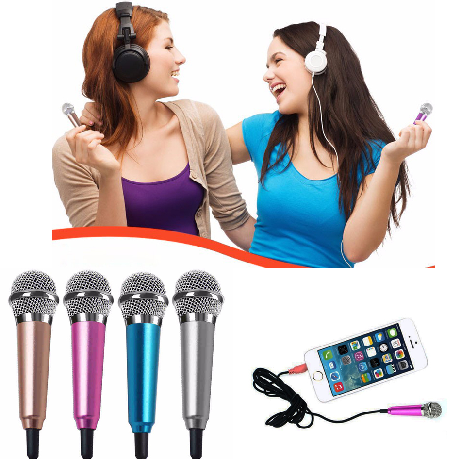 3.5mm Fashion Portable Mini Microphone Stereo Condenser Mic For IPhone IOS Android Smartphone PC Laptop Chatting Singing Karaoke(China (Mainland))