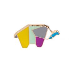 Carino Origami Animale Smalto Duro Spilli Elefante Coniglio Bunny Orso Scoiattolo Balena Cavallo Pinguino Volpe Spille di Design Risvolto Spille(China)