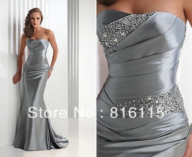 Popular Evening Dresses Long Strapless Silver-Buy Cheap Evening ...