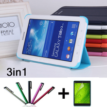 (Film+Pen)+ Original Leather case for samsung galaxy tab3 Lite 7.0 SM-T110 SM- T111 Tablet Flip book cover T110