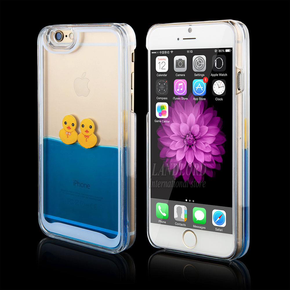 New Dynamic Liquid Aquarium Rubber Duck Swimming design style Transparent hard Back Cover Phone Case For iPhone 5 5s 6 6 plus(China (Mainland))