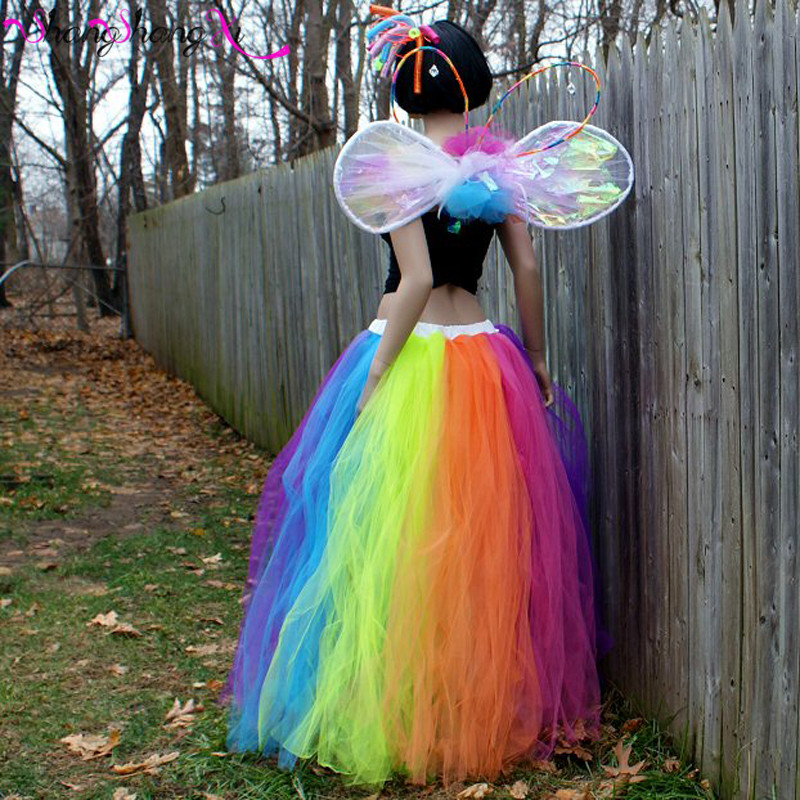 rainbow skirt tutu petticoat tulle 2017 halloween streamer formal pride fairytale wedding bridal costume carnival tutu t002 - Halloween Petticoat