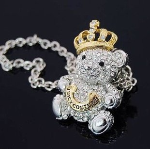 Min.order is $15 (mix order)2015 Graceful golden crown bear pendant necklace,Free shipping,Women's classical silver plated chain