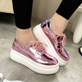 Fashion Patent Leather Shoes Woman Handmade Designer Ladies Loafers Flat Platform Shoes For Women Creepers Casual