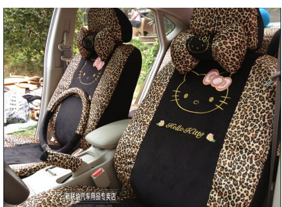 2015 new fashion leopard hello kitty car seat cover, cartoon cover1/ set