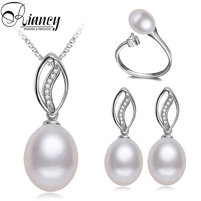 100% real natural pearl jewelry sets women freshwater pearl jewelry sets 925 sterling silver jewelry engagement wife best gift