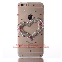 New Fashion Diamond Pink Crystal Love heart Hard Case For APPle iPhone 4S 5 5C 5S 6 6S 6S Plus For iPod Touch 5 Touch 6 Handmade(China (Mainland))