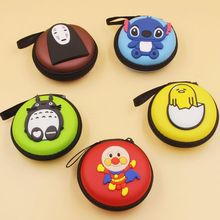 Anpanman Totoro Yolk eggJun Stitch money purse coin bags earphone case hard portable travel headphone stora for Kids Gifts