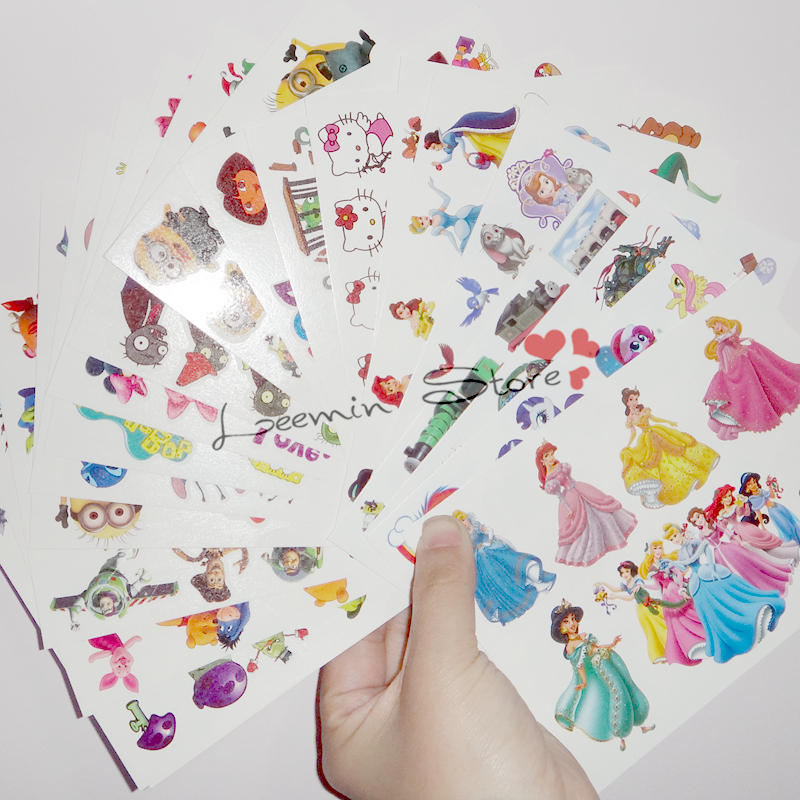 wholesales 20 sheets lot kid lovely Temporary tattoo stickers child kid cartoon tattoo princess dora Despicable