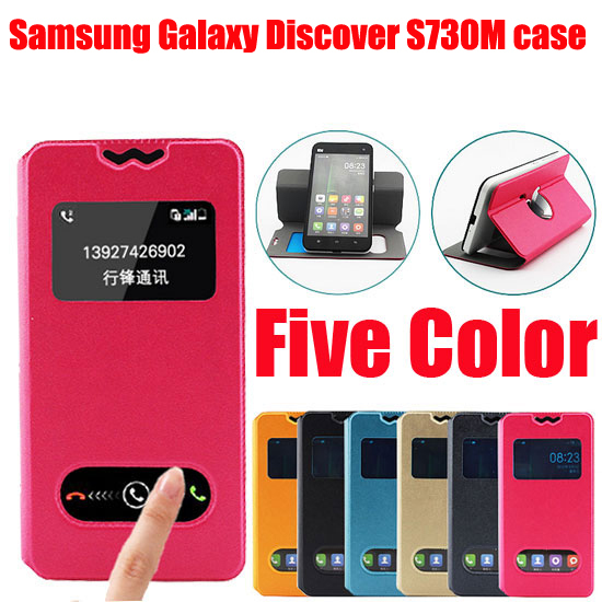 New item Fasion for Samsung Galaxy Discover S730M Leather Wallet bag Flip PU protective Case Back Cover New Arrival In Stock D1(China (Mainland))