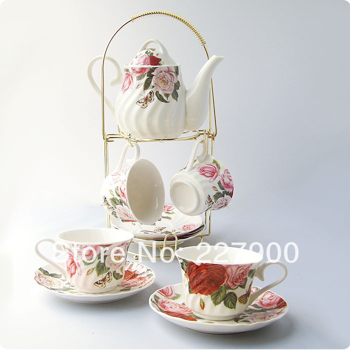 White And Red Rose Flower 9 Piece European Style Ceramic Tea Set Tea Service Coffee Set