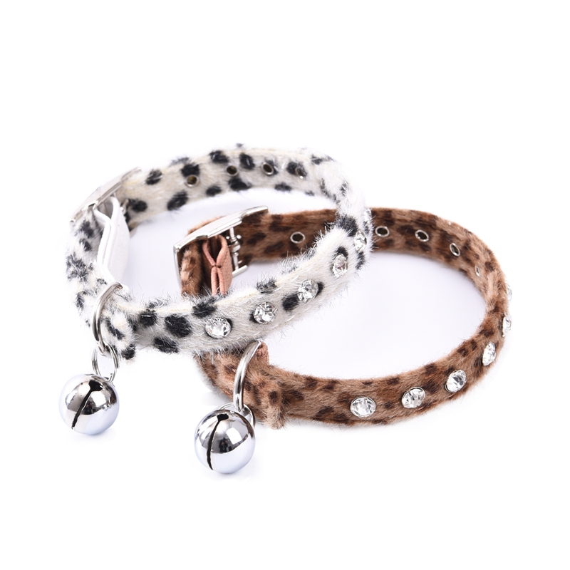 Fashion Pet Collar Adjustable Collar Bell Leopard Zebra Puppy Safety Outside Running Jeweled Neckline Soft High Quality(China (Mainland))