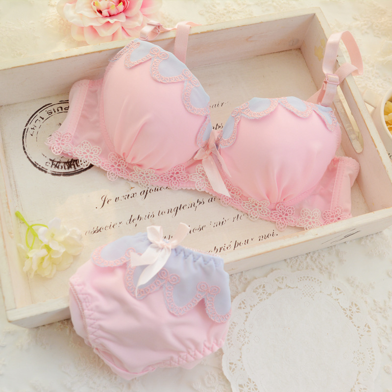 2016 girl's training bra set Cotton Teenage girls bras Set for 12 to 16 pubescent young girls children bra girls(China (Mainland))