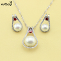 Imitation Pearl Jewelry Sets Superb White And Red Topaz Sterling Silver Overlay Earrings and Necklace For