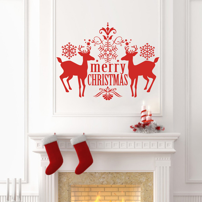 Christmas decoration mirror decorative wall sticker home for Stickers decorativos